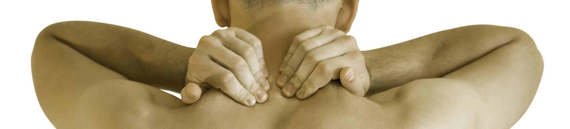 Man massaging his neck