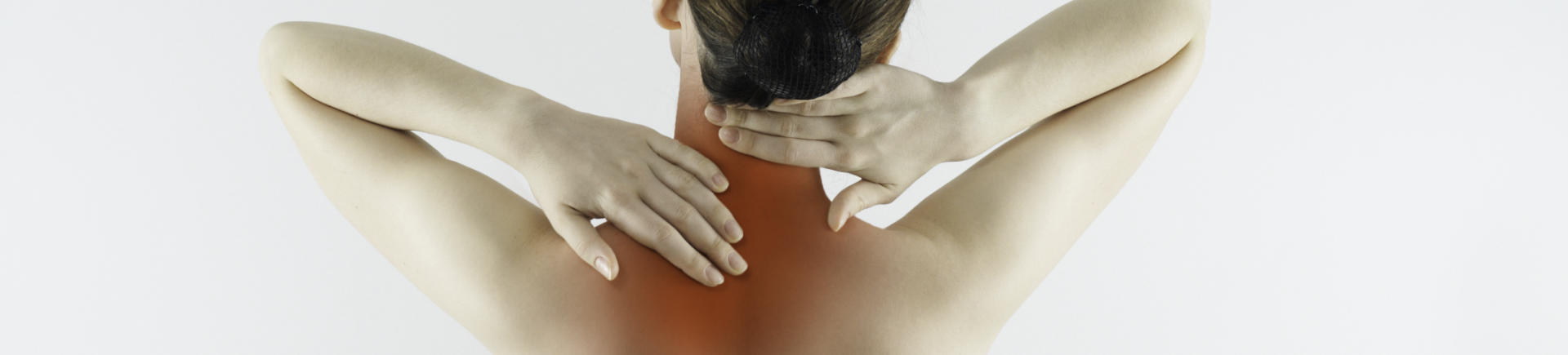 woman with upper back pain