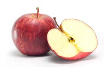 two apples, one sliced